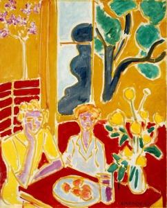 Matisse, Deux fillettes, fond jaune et rouge (2 Girls in Yellow & Red Interior) 1947.jpg