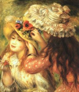 Niñas Poniendo Flores en sus Sombreros
