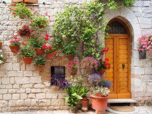 13066479-Las-flores-coloridas-fuera-de-una-casa-en-el-italiano-hilltown-de-As-s-Foto-de-archivo