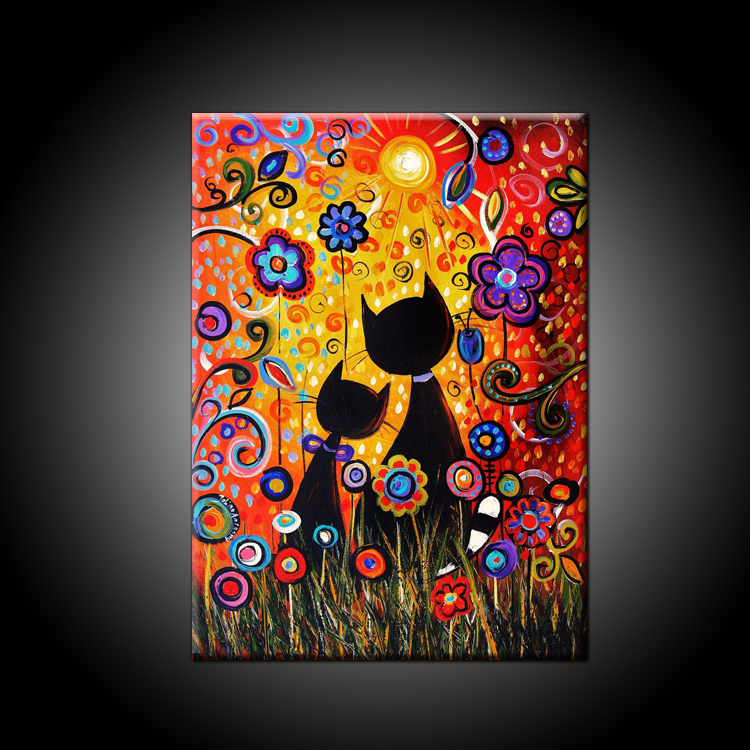 Los gatos y las flores creciendoentreflores - Cuadros modernos con mucho color ...