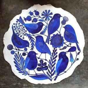 flores y pájaros azul