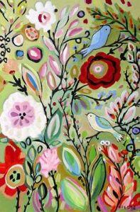 flores y pájaros original