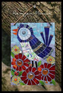 mosaico pájaro y flores