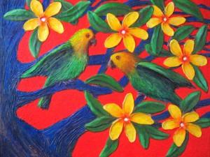 pájaros y flores exóticos
