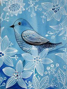 pájarosd y flores