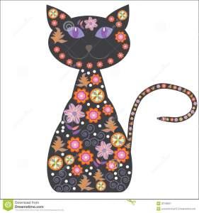 silueta-de-un-gato-con-las-flores-bonitas-en-un-blanco-32728637