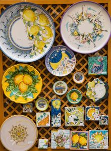 Hand Painted Plates and Tiles in a market in Sorrento on the Amalfi Coast