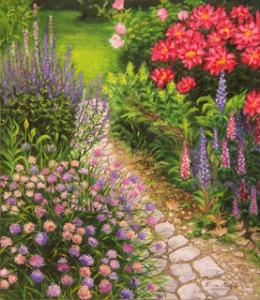 -b-Camino entre flores--b- -O-leo sobre lienzo