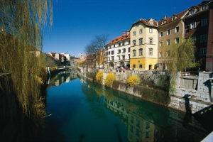 Ljubljanica River and Cankar Quay on a sunny day in spring