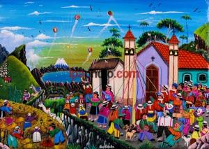 """QUILOTOA-VOLCAN- ECUADOR MAR/12/2009 Las pinturas Naif de Joaqu'n Toaquiza, pintor ind'gena de la poblaci—n quichua de Tigua, es uno de los atractivos para los visitantes del Volc‡n Laguna Quilotoa (3.900 m), localizado en la Provincia de Cotopaxi, Parroquia de Zumbahua, forma parte de la Reserva Ecol—gica Los Iliniza. Su nombre proviene de dos vocablos quichuas """"Quiru"""" que quiere decir diente y """"Toa"""" que significa reina debido a la forma de la laguna, pues Žsta tiene forma casi el'ptica de aproximadamente 3.15 kil—metros de di‡metro y una diferencia de 440 metros entre el nivel del agua y el borde superior. El borde del cr‡ter remata en el lado suroeste con la cumbre Huyan tic o Puerta Zhalal— que tiene 4.010 m. El agua de la laguna posee un color verde esmeralda y varía de acuerdo a la temporada, con verde azulado o casi amarillo mostrando un cuadro imponente de acuerdo a la sombra y a la luz. Su profundidad promedio es de 240 metros. El entorno de este volc‡n es el p‡ramo de Zumbahua importante reservorio de agua para la capital, ecuatoriana Quito y donde se asientan varias comunidades ind'genas quichuas, que se dedican fundamentalmente al pastoreo de ganado. Una de las m‡s conocidas es la de Tigua por los cuadros estilo Naif realizados sobre piel de oveja. (Photo by Patricio Realpe/ IPAPHOTO.COM)."""