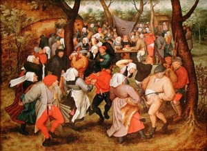 XIR156164 The Wedding Dance, 1607 (oil on panel) by Brueghel, P. the Younger (c.1564-1638) (attr. to) oil on panel Private Collection Giraudon Flemish, out of copyright