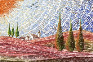 35645406-paisaje-de-toscana-concepto-pintura-digital-foto-de-archivo
